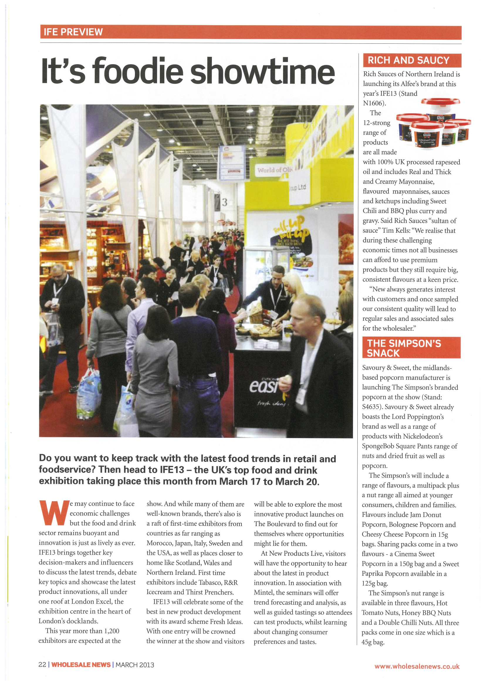 Wholesale News - March 2013 Alfees featured in IFE preview