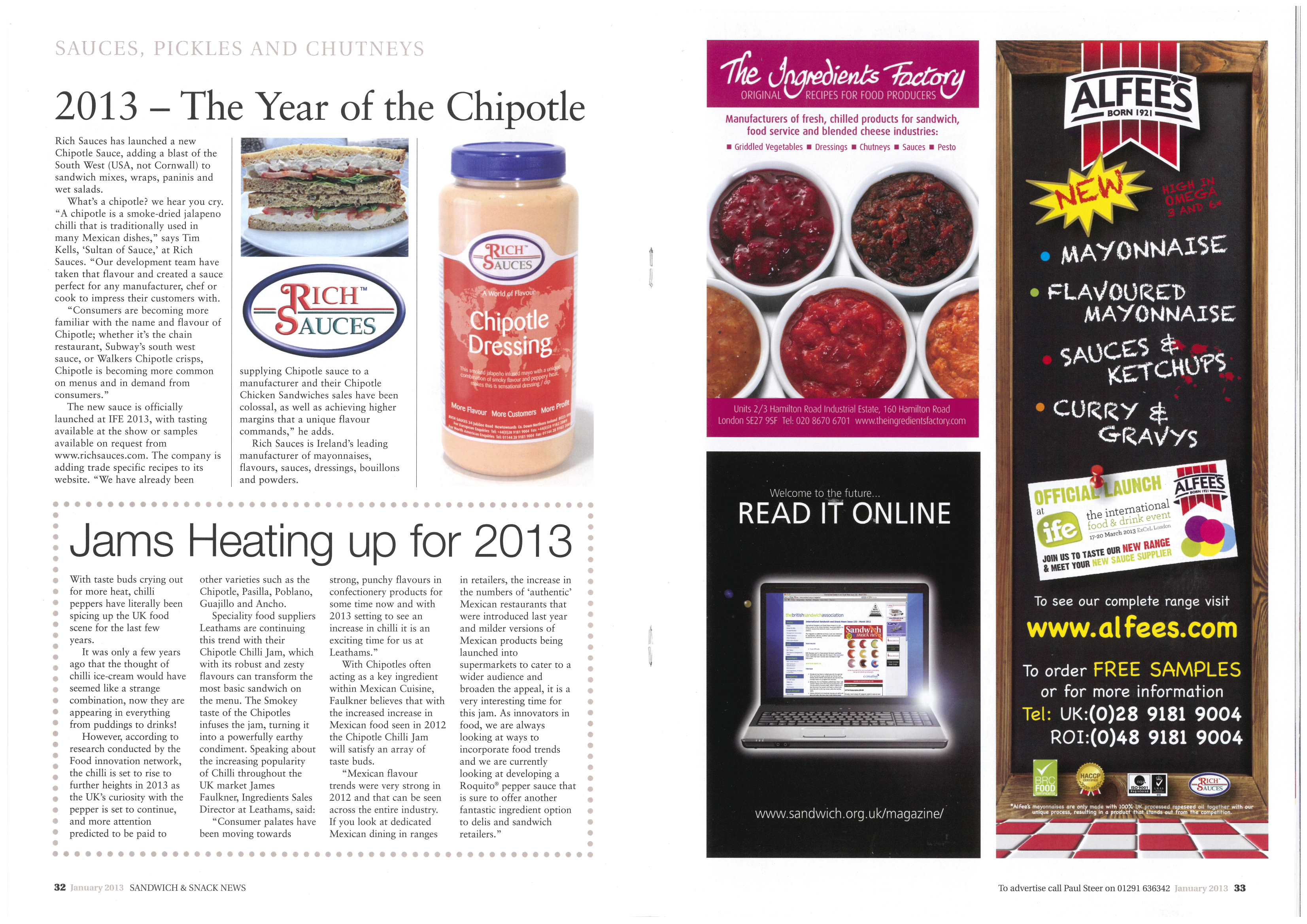 Sandwich and Snack news January 2013