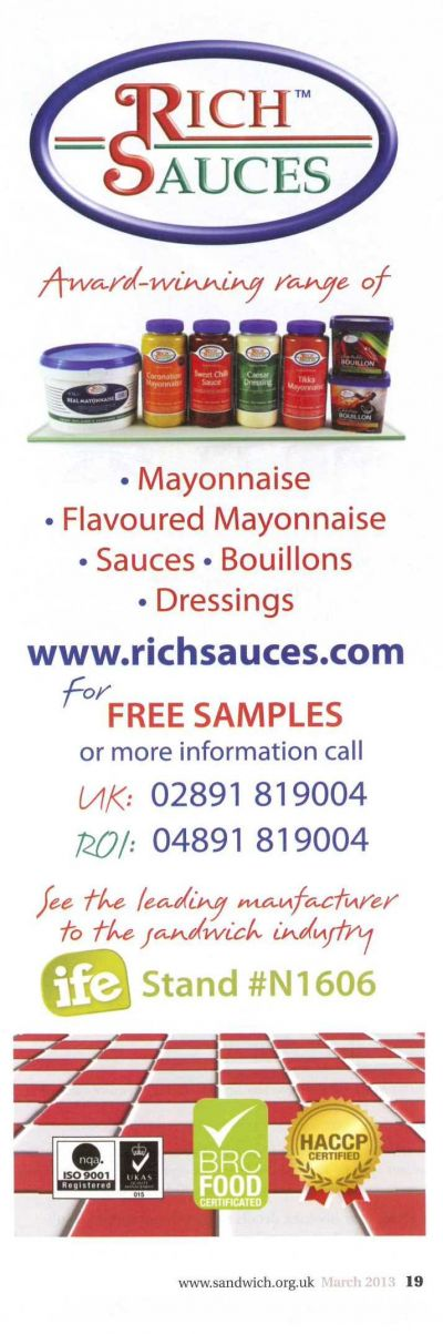 Rich Sauces Ad in Sandwich and Snack News March 2013