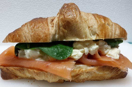 Smoked salmon egg mayo croissant made using our quality catering food supplies
