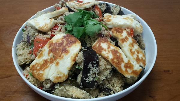 Halloumi, roast veg with honeyed couscous made using our quality catering food supplies