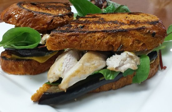 Grilled Aubergine, Chicken, Rocket on a 3 Cheese Bread