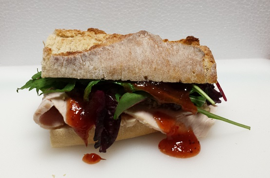 Turkey, stuffing and chilli cranberry sauce baguette