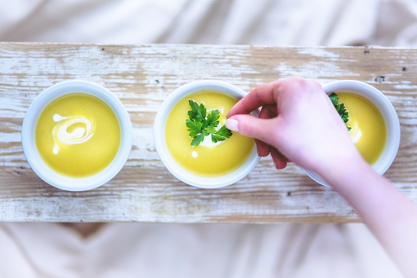 Carrot & Coriander Soup using vegetable bouillon catering food suppllies